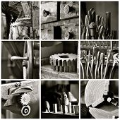 Black And White Machine Shop Collage