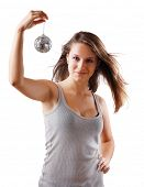 girl with disco ball