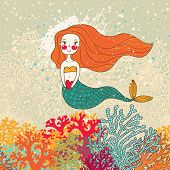 stock photo of fable  - Cute mermaid in corals - JPG