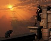 stock photo of pirate hat  - Pirate captain waiting on the docks at sunset - JPG