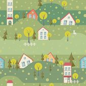 Seamless Pattern With Village And Houses