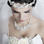 picture of white gown  - Portrait of beautiful bride - JPG