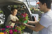 Father passing flower pot to son in back of a minivan at the plant nursery