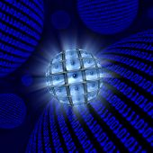 Sphere Of Video Monitors Each Showing An Eyeball Among Orbs Of Blue Digital Code