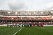 MOSCOW - SEP 7: Greeting teams on game Russian team against Northern Ireland on Lokomotiv Stadium in