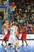 MOSCOW - SEP 29: Men from Zalgiris (Lithuania) and CSKA Moscow (Russia, in red) teams play basketbal