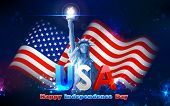 stock photo of independent woman  - illustration of Statue of Liberty on American flag background for Independence Day - JPG
