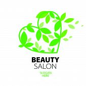 creative design Heart Of Green Leaves To The Beauty Salon
