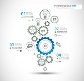 Infographic design template with gear chain. Ideal to display information, ranking and statistics wi