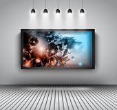 Modern interior art gallery frame design with spotlights. Shelf, spotlight with directional light, d