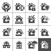 stock photo of flood  - Property insurance icon set - JPG