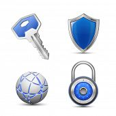 Security and protection symbols. Privacy and secrecy concept. vector illustrations