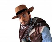 stock photo of gunslinger  - WOW gunman in the old wild west - JPG