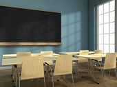 stock photo of classroom  - Blackboard and school desks on a classroom - JPG