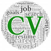 Concepto de CV Curriculum vitae en la nube de etiquetas de palabra sobre fondo blanco