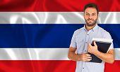 Male Student Of Languages ??on Thai Flag