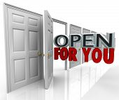 The words Open For You emerging from an opening door to illustrate and always open and inviting poli