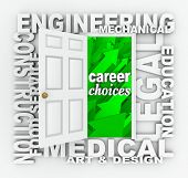 A word door illustrating career and job opportunities such as engineering, construction, medical, de
