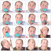 Collage Portrait Fat Man Eating A Lollipop