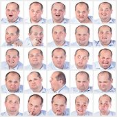 pic of fat-guts  - Collage portrait fat man with difference emotions on white background - JPG