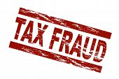 Stylized red stamp showing the term tax fraud. All on white background.