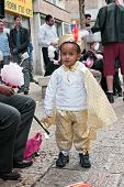 Jerusalem, Israel - March 15: Purim Carnival, Portrait Of An Unidentified Ethiopian Little Boy Dress