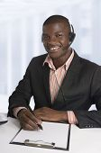 African Business Man / Student With Head Set