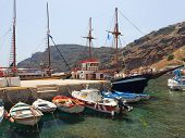 Harbour And Boats At Thirasia Santorini