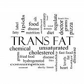 Trans Fat Word Cloud Concept In Black And White