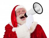 Portrait of Santa Claus using megaphone. All on white background.