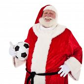 Portrait of Santa Claus holding soccer ball. All on white background.
