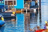 Floating Home Village Blue Houseboats Reflection Inner Harbor Victoria Canada