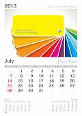 July 2013 A3 calendar - vector illustration