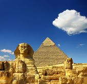 stock photo of pyramid shape  - famous ancient egypt Cheops pyramid and sphinx in Giza - JPG