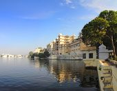 landscape with palace and lake in Udaipur India