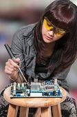 Woman repairing