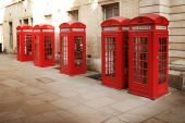 Row of red phone boothes