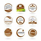 Chocolate, coffe and caramel icon design - sticker.