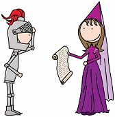 image of knights  - Cartoon illustration of a knight and a princess - JPG