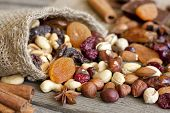 Nuts and dried fruits on vintage wooden boards