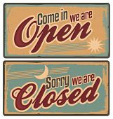 Retro metal signs set for store or shop