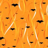 Streamers and bats seamless background