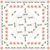arrangement of pink roses as pattern for tablecloth