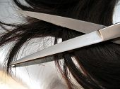 image of hair cutting  - a pair of haircutting scissors and hair on a silver reflective background - JPG