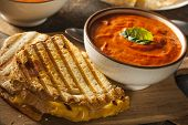 pic of tomato sandwich  - Grilled Cheese Sandwich with Creamy Tomato Basil Soup - JPG