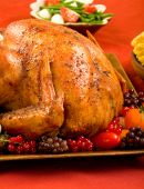image of turkey dinner  - A Roast Turkey stuffed with flavorful vegetables - JPG