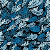 Seamless Blue Hand Drawn Pattern With Feather