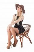 Cute Woman Sitting On Chair