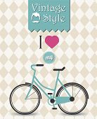 Vintage hipster bicycle background, vector illustration