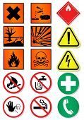 Vector set of different laboratory associated signs. All vector objects and details are isolated/grouped. Colors, shadow and background color are easy to customize. Symbols are replaceable.